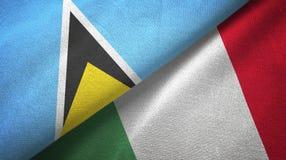 Αγία Λουκία και Ιταλία δύο υφαντικό ύφασμα σημαιών, σύσταση υφάσματος ελεύθερη απεικόνιση δικαιώματος