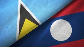 Αγία Λουκία και Λάος δύο υφαντικό ύφασμα σημαιών διανυσματική απεικόνιση