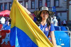 Αγία Πετρούπολη, Ρωσία - 26 Ιουνίου 2018: Υποστηρικτής της ομάδας ποδοσφαίρου της Κολομβίας στοκ εικόνα με δικαίωμα ελεύθερης χρήσης