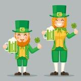 Αγίου Πάτρικ Leprechaun κούπα συμβόλων επιτυχίας και ευημερίας τριφυλλιού εορτασμού Cute Gnome Girl ημέρας της μπύρας με το εικον Στοκ Εικόνες