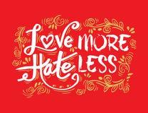 Αγαπήστε περισσότερο μίσος λιγότερο διανυσματική απεικόνιση