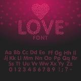 Αγαπήστε το αλφάβητο με τις επιστολές και τους αριθμούς καρδιών Διανυσματική απεικόνιση