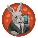 Αγαπήστε το κουνέλι σας καλεί στο κινητό τηλέφωνό σας Στοκ φωτογραφίες με δικαίωμα ελεύθερης χρήσης
