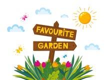 Αγαπημένη απεικόνιση κήπων σχεδίου έννοιας με το ξύλινο βέλος και τις διαφορετικές εγκαταστάσεις, λουλούδια Εποχή άνοιξης εγγραφή απεικόνιση αποθεμάτων