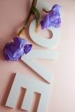 ΑΓΑΠΗ επιστολών με τα λουλούδια ίριδων Στοκ φωτογραφίες με δικαίωμα ελεύθερης χρήσης