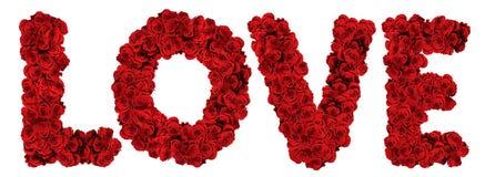 ΑΓΑΠΗ φιαγμένη από τριαντάφυλλα Στοκ Φωτογραφία