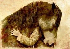 Αγαπώντας άλογο και ένα κορίτσι, κορίτσι που αγκαλιάζουν ένα άλογο κολάζ υπολογιστών Επίδραση σεπιών Στοκ Εικόνες