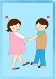 Αγαπώντας έγκυο χέρι εκμετάλλευσης ζεύγους διανυσματική απεικόνιση
