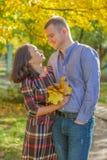Αγαπώντας ζεύγος που αγκαλιάζει μεταξύ των κίτρινων δέντρων στοκ φωτογραφίες με δικαίωμα ελεύθερης χρήσης