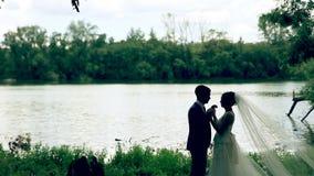 Αγαπώντας ζεύγος που κρατά κάθε κοντά στη λίμνη φιλμ μικρού μήκους