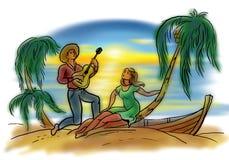 Αγαπώντας ζεύγος στην ακτή Διανυσματική απεικόνιση