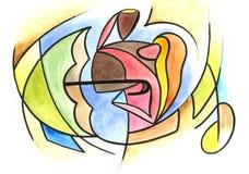 Αγαπώντας ζεύγος στο αφηρημένο ύφος Ελεύθερη απεικόνιση δικαιώματος