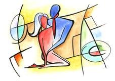 Αγαπώντας ζεύγος στο αφηρημένο ύφος Διανυσματική απεικόνιση