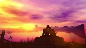 Αγαπώντας ζεύγος στο υπόβαθρο ηλιοβασιλέματος ελεύθερη απεικόνιση δικαιώματος