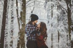 Αγαπώντας ζεύγος στο χιονώδες χειμερινό δάσος στοκ εικόνες με δικαίωμα ελεύθερης χρήσης