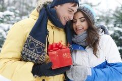Αγαπώντας ζεύγος το χειμώνα Στοκ Εικόνες