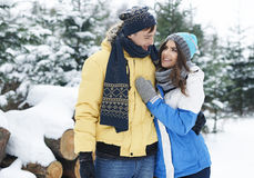 Αγαπώντας ζεύγος το χειμώνα Στοκ φωτογραφία με δικαίωμα ελεύθερης χρήσης