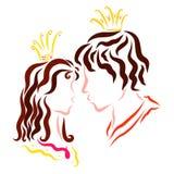 Αγαπώντας πρίγκηπας και πριγκήπισσα, η ευτυχία της αγάπης διανυσματική απεικόνιση