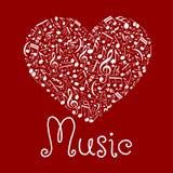 Αγαπώντας το μουσικό σύμβολο καρδιών φιαγμένο επάνω από σημειώσεις διανυσματική απεικόνιση