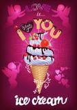 Αγαπώ αυτήν την αφίσα παγωτού με Cupid διανυσματική απεικόνιση