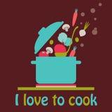 Αγαπώ να μαγειρεψω τη διανυσματική κάρτα διανυσματική απεικόνιση