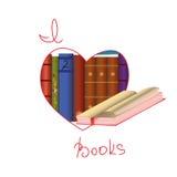 Αγαπώ τα βιβλία Στοκ Εικόνες