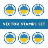 Αγαπώ τα διανυσματικά γραμματόσημα της Ουκρανίας καθορισμένα απεικόνιση αποθεμάτων