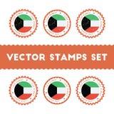 Αγαπώ τα διανυσματικά γραμματόσημα του Κουβέιτ καθορισμένα Στοκ Εικόνες