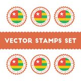 Αγαπώ τα διανυσματικά γραμματόσημα του Τόγκο καθορισμένα Στοκ Εικόνες