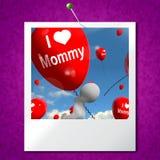 Αγαπώ τα μπαλόνια φωτογραφιών μαμών παρουσιάζω στοργικά συναισθήματα για το σκώρο διανυσματική απεικόνιση