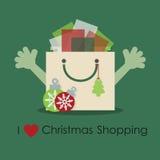 Αγαπώ τα Χριστούγεννα ψωνίζοντας, χαριτωμένη τσάντα δώρων smiley με τα ανοικτά χέρια διανυσματική απεικόνιση