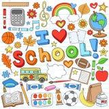 Αγαπώ τα διανυσματικά στοιχεία σχεδίου σχολικών προμηθειών Στοκ φωτογραφία με δικαίωμα ελεύθερης χρήσης