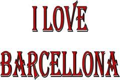 Αγαπώ την απεικόνιση σημαδιών κειμένων Barcellona Στοκ Φωτογραφίες