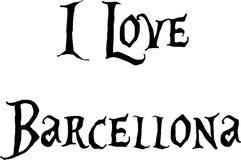 Αγαπώ την απεικόνιση σημαδιών κειμένων Barcellona Στοκ Εικόνες