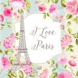 Αγαπώ την κάρτα του Παρισιού διανυσματική απεικόνιση
