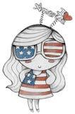 Αγαπώ την τυπωμένη ύλη μπλουζών κοριτσιών της Αμερικής Στοκ Εικόνες