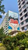 Αγαπώ τη μεγάλη ρόδα σημαιών τέχνης της Σιγκαπούρης στοκ εικόνα με δικαίωμα ελεύθερης χρήσης