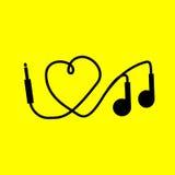 Αγαπώ τη μουσική. ακουστικά ελεύθερη απεικόνιση δικαιώματος