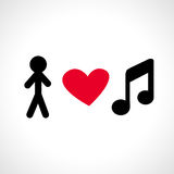 Αγαπώ τη μουσική Στοκ Εικόνες