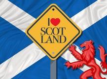 Αγαπώ τη Σκωτία και τη σημαία της Σκωτίας απεικόνιση αποθεμάτων