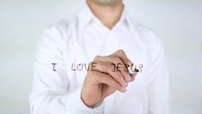 Αγαπώ τον Ιησού, γράψιμο επιχειρηματιών στο γυαλί Στοκ φωτογραφία με δικαίωμα ελεύθερης χρήσης