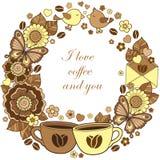 Αγαπώ τον καφέ και εσείς Στρογγυλό σύντομο χρονογράφημα Αφηρημένο υπόβαθρο φιαγμένο από λουλούδια Στοκ φωτογραφία με δικαίωμα ελεύθερης χρήσης