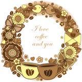 Αγαπώ τον καφέ και εσείς Στρογγυλό σύντομο χρονογράφημα Αφηρημένο υπόβαθρο φιαγμένο από λουλούδια, φλυτζάνια, πεταλούδες, και που Στοκ εικόνες με δικαίωμα ελεύθερης χρήσης