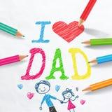 Αγαπώ τον μπαμπά Κάρτα ημέρας πατέρα Στοκ Φωτογραφία
