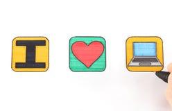 Αγαπώ τον υπολογιστή Στοκ Εικόνα