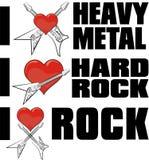 Αγαπώ το βαρύ μέταλλο και τη μουσική ροκ Στοκ Εικόνες