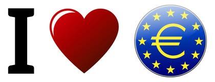 Αγαπώ το ευρώ Στοκ Εικόνες