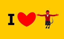 Αγαπώ το διάβολο Σύμβολο της καρδιάς και του δαίμονα με τα κέρατα Κόκκινος satan Π ελεύθερη απεικόνιση δικαιώματος