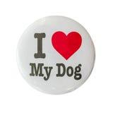 Αγαπώ το διακριτικό σκυλιών μου Στοκ Εικόνες