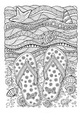 αγαπώ το καλοκαίρι θάλασσα αποβαθρών μονοπατιών παραλιών Παντόφλες, άμμος και κοχύλι Συρμένο χέρι σανδάλι σαγιονάρων Στοκ Εικόνες